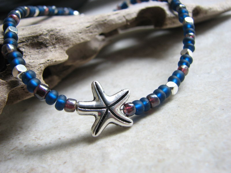 Beaded Starfish Ankle Bracelet in Navy Blue & Silver, Simple Ocean Anklet - product images  of