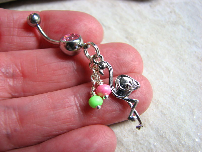 Tropical Flamingo Belly Ring with Colorful Beads - product images  of