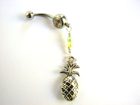 Pineapple,Belly,Button,Ring,pineapple belly ring, tropical fruit, dangle, wire wrapped, belly button ring, piercing, navel, jewelry, bellybutton, Hawaiian, beaded, stainless steel, 14G, 14gauge, summer, vacation,