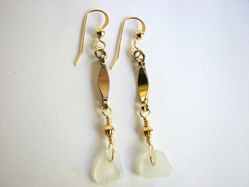Gold Filled Sea Glass Earrings, Long Dangle Ocean Jewelry - product images  of