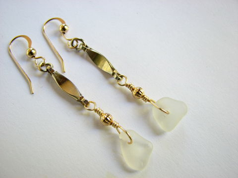 Gold,Filled,Sea,Glass,Earrings,,Long,Dangle,Ocean,Jewelry,long gold earrings, dangles, gold-filled, gold filled, handmade, sea glass earrings, white, frosted, beach jewelry, seaglass, beach glass, dangling, long, bits off the beach