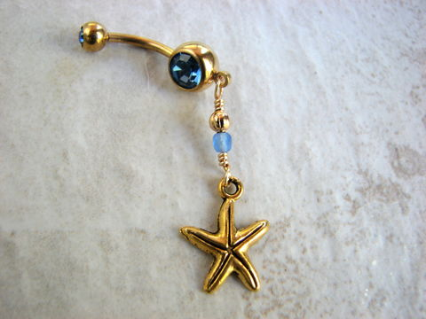 Golden,Starfish,Belly,Button,Jewelry,starfish charm, sea star, nautical, beach, belly button rings, belly rings, navel rings, body piercing, blue barbell, gold barbell, bellybutton, gold starfish, summer, bits off the beach, flirty, surgical steel, gold plated, dangle, short,