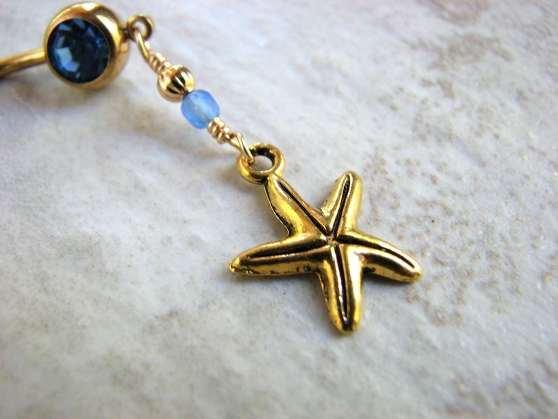 Golden Starfish Belly Button Jewelry - product images  of