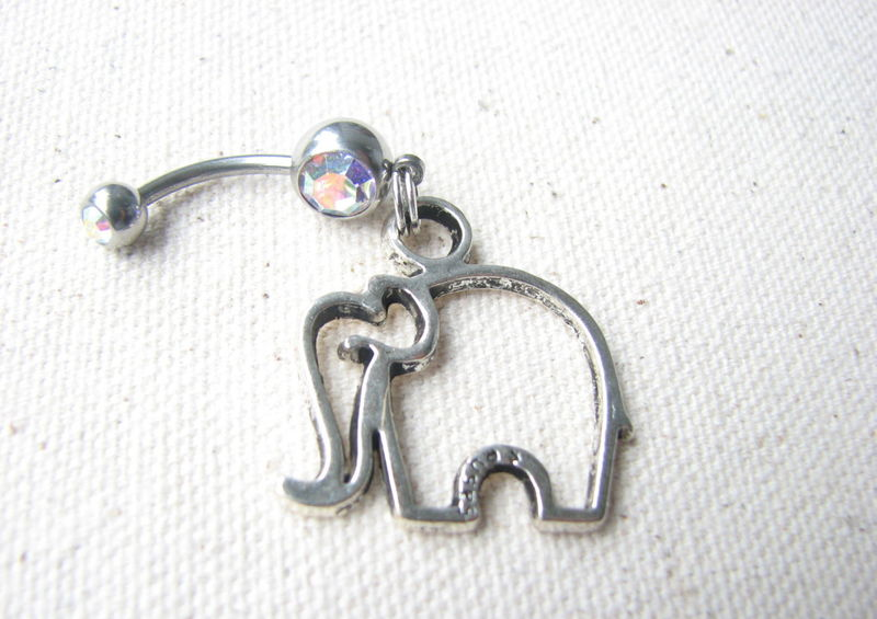 Silver Elephant Charm Belly Button Ring - product images  of