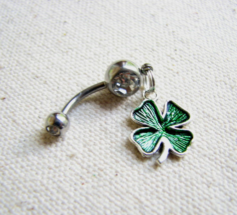 Lucky Shamrock Belly Button Ring, St Patrick's Day Jewelry - product images  of