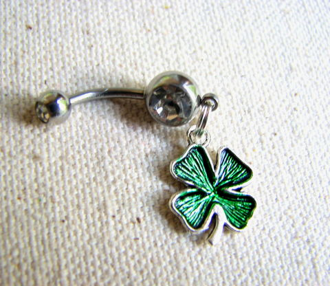 Lucky,Shamrock,Belly,Button,Ring,,St,Patrick's,Day,Jewelry,shamrock belly ring, belly button ring, Irish, St Patrick's Day, 4 leaf clover, Four leaf clover Belly, navel ring, pierced body jewelry, lucky, emerald green, silver, surgical steel