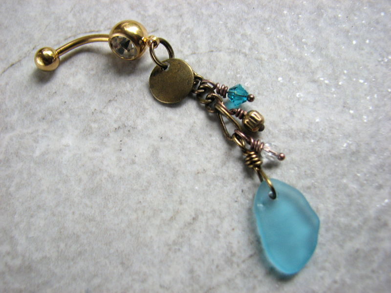 Long Beaded Brass Sea Glass Belly Button Ring with Gold Titanium Belly Bar - product images  of