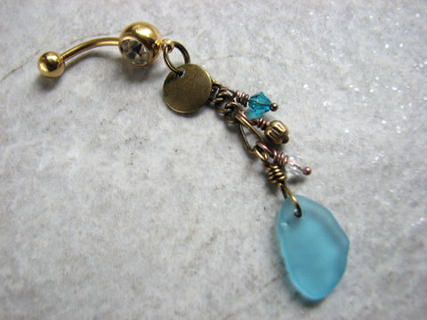 Long,Beaded,Brass,Sea,Glass,Belly,Button,Ring,with,Gold,Titanium,Bar,long, dangling, body jewelry, piercing, navel, belly button ring, belly bar, belly ring, bellybutton, blue, aqua blue, bright blue, gold titanium, barbell, 14 ga, gauge, tropical, gypsy, beach, ocean, sea glass, seaglass, brass, antiqued brass