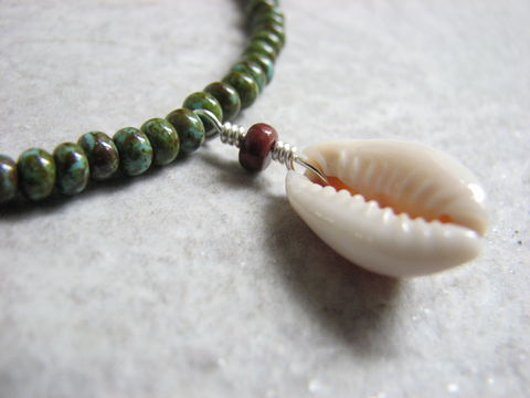 Beaded,Cowrie,Shell,Choker,Necklace,cowrie necklace, cowrie shell necklace, cowrie choker, shell choker, bead shell choker, sea shell choker, green beaded necklace, beach necklace, cowry shell necklace, cowry shell choker, cowry shell jewelry, cowrie shell jewelry