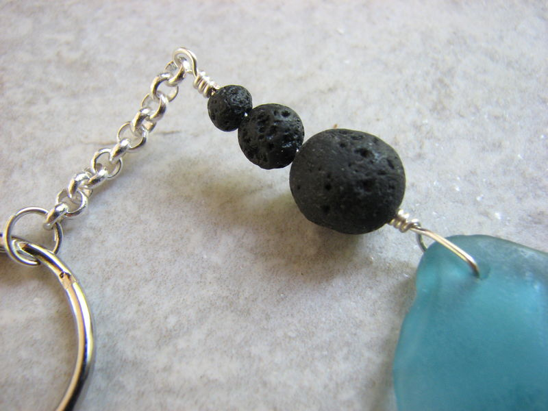 Aqua Blue Beach Glass Keychain with Lava Stone Beads - product images  of