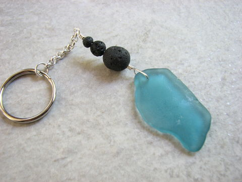 Aqua,Blue,Beach,Glass,Keychain,with,Lava,Stone,Beads,Accessories, Keychain, beach_glass_keyring, mens_key_chain, sea_glass_key_chain ,sea_glass_key_ring, blue_beach_glass, beach_glass_keychain, seaglass_key_chain, lava_beads_keyring, keyring_for_men, men_gift_ideas, bead_keychain, lava_stone_keychain, aqua_