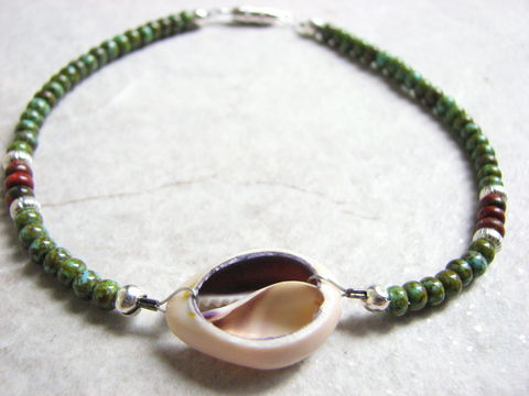 Nautical,Cowrie,Shell,Ankle,Bracelet,,Anklet,cowry shell jewelry, cowrie shell jewelry, sea shell anklet, sea shell ankle bracelet, beach ankle bracelet, green anklet, green beaded ankle bracelet, nautical anklet, casual beach jewelry, women's shell anklet, cowrie shell anklet, sea shell ankle jewel