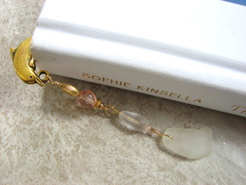 Beach Glass Bookmark in Peach and Gold, Dolphin Book Mark - product images  of