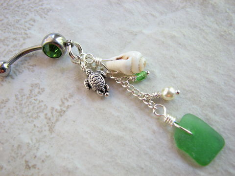Dangly,Beach,Belly,Rings,with,Sea,Glass,,Shell,and,Turtles,sea turtle belly, turtle navel, sea glass belly, seaglass belly rings, sea shell belly piercing, long, dangly, chain, stainless steel, green sea glass, beach glass, nautical navel, ocean  belly jewelry, beach navel piercing