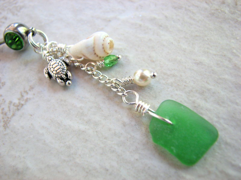 Dangly Beach Belly Rings with Sea Glass, Shell and Turtles - product images  of