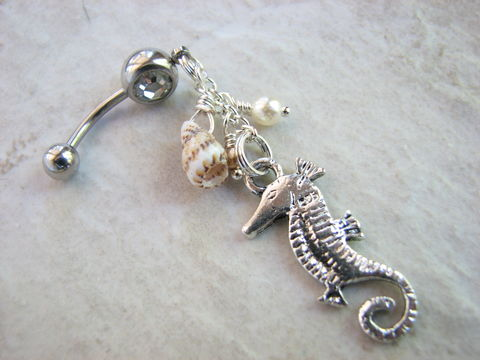 Dangle,Sea,Horse,Belly,Button,Ring,with,Shell,and,Pearls,long belly button ring, dangle belly ring, long belly button jewelry, sea shell belly rings, silver shell belly rings, pearls accents, showy body jewelry, fancy, beachy, nature, natural, sea horse belly button ring, navel piercing, 316L Surgical stainless