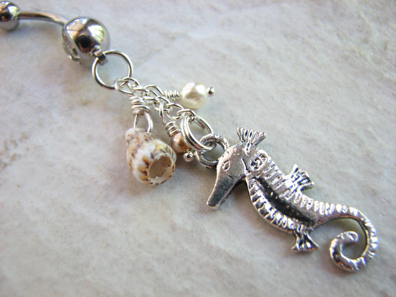 Dangle Sea Horse Belly Button Ring with Sea Shell and Pearls - product images  of