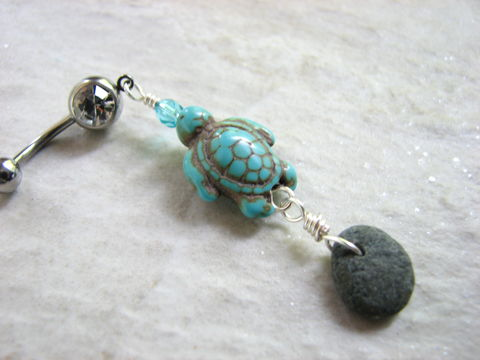 Beach,Stone,and,Turquoise,Sea,Turtle,Belly,Button,Jewelry,body jewelry, turquoise turtle, belly button jewelry, turtle belly, grey beach stone jewelry, ocean stone belly, beach stone belly, ocean navel ring, beach navel piercing, nautical body jewelry, sea turtle belly button, turtle bellyring, drilled stone, dr