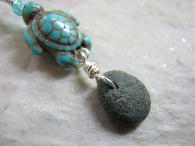 Beach Stone and Turquoise Sea Turtle Belly Button Jewelry - product images  of