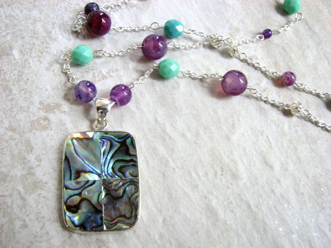 Beaded,Teal,and,Violet,Necklace,with,Abalone,Pendant,teal necklace, bead necklace, violet necklace, purple necklace, abalone pendant necklace, abalone necklace, abalone jewelry, iridescent shell jewelry, long bead necklace, 34 inch long, lobster claw closure, summer jewelry, beaded chain necklace, long pend