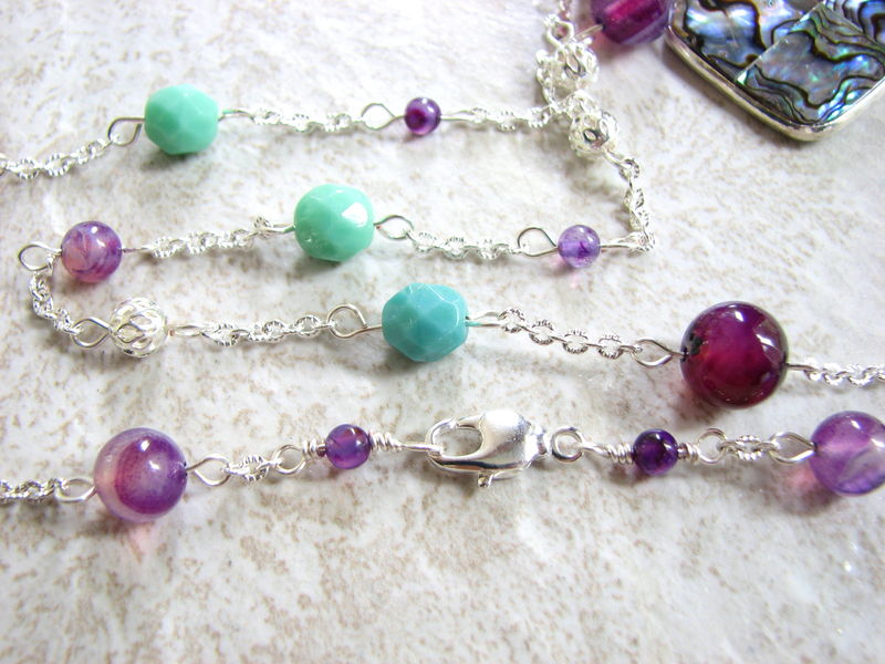 Beaded Teal and Violet Necklace with Abalone Pendant - product images  of