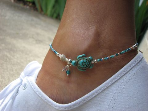 Beaded,Turquoise,Sea,Turtle,and,Shell,Beach,Anklet,sea turtle, honu, turquoise, howlite, sea shell, anklet, ankle bracelet, foot jewelry, leg jewelry, beach anklet, ocean ankle bracelet, nautical jewelry, whimsical, flirty, beads, blue, green, pink, pastel, custom sized, 9 inch, 10 inch, womens anklet