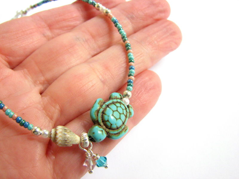 Beaded Turquoise Sea Turtle And Shell Beach Anklet Bits