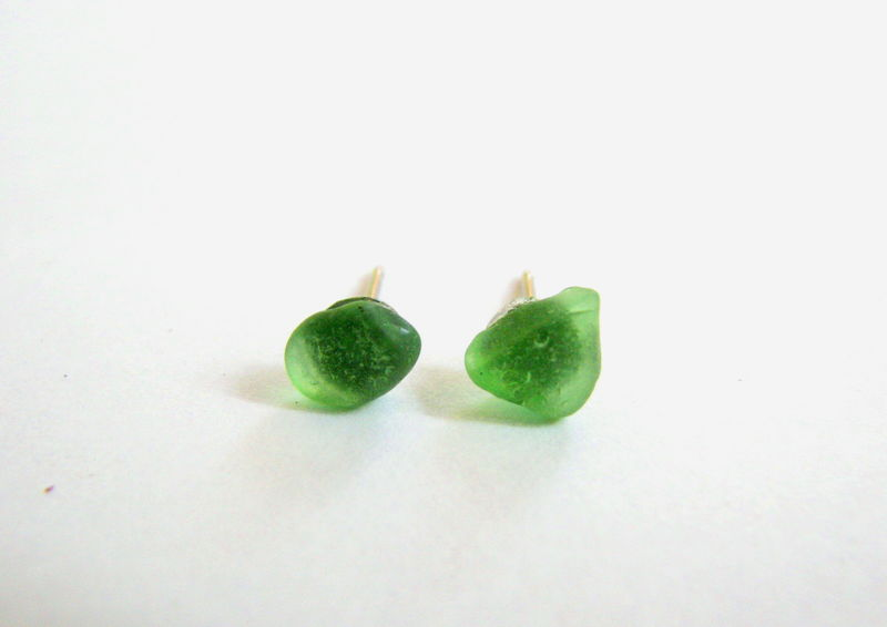 Tiny Green Sea Glass Stud Earrings - product images  of