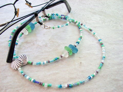 Beaded,Ocean,Eyeglass,Holder,sea glass eyeglass holder, beach eyeglass chain, beaded, eye glass holder, eyeglass chain, sunglasses holder, eye wear chain, eyeglass lanyard, chains for readers, eyeglass necklace, glasses chain, glasses holder, eyeglass jewelry, blue, gr