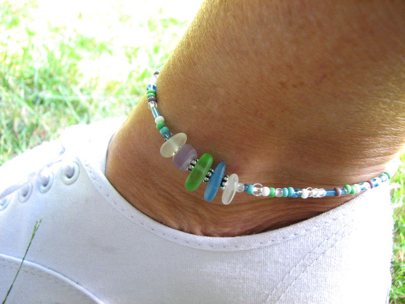 Beach Sea Glass Anklet for Women, Delicate Beaded Ocean Jewelry - product images  of