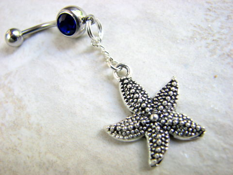 Dangle,Starfish,Navel,Ring,Piercing,in,Blue,starfish belly ring, dangle belly ring, starfish belly button rings, sea star, dangly, hanging, bellybutton rings, ocean belly button jewelry, sea creature belly, nautical navel ring, belly piercings, beach jewelry, surgical steel, stainless steel, long s