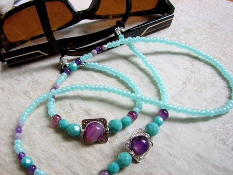 Seafoam,and,Purple,Beaded,Eyeglass,Chain,eyeglass chain, purple beaded, glass holder, seafoam green bead chain, colorful eyeglass leash, spectacle chain, bead eyeglass necklace, glasses chain, sunglass chain, sunglasses leash, eye glass chains, readers holder, sun glass holder, beaded eyeglass l
