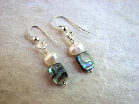 Small,Abalone,Shell,and,Pearl,Dangle,Earrings,abalone earrings, shell earrings, pearl and shell jewelry, small abalone jewelry, dainty dangles, small ocean jewelry, small womens gift, paua shell earrings, paua shell jewelry, green blue shell, iridescent shell, small dangle earrings, womens jewelry, f