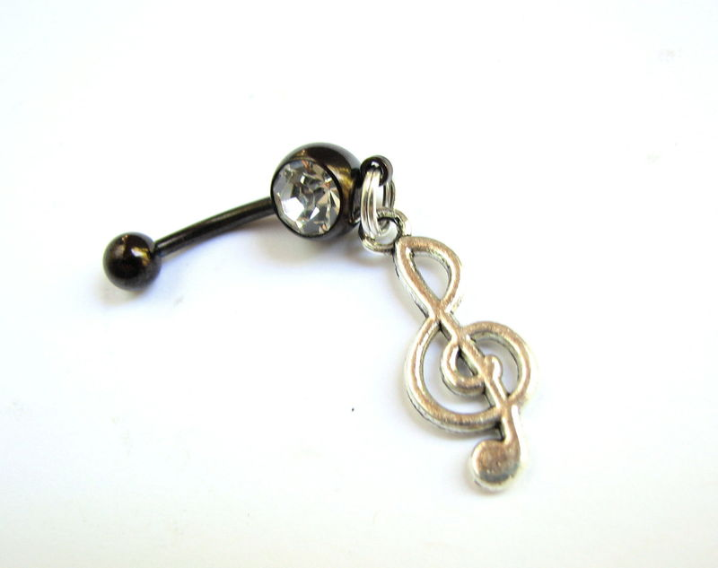 Treble Clef Belly Button Jewelry, Music Navel Piercing - product images  of