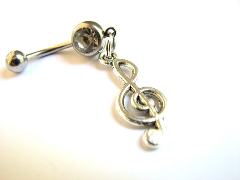 Treble,Clef,Belly,Button,Jewelry,,Music,Navel,Piercing,treble clef belly, treble clef music navel piercing, belly button jewelry, musical, rock and roll, gift for muscian, womens, girlfriend, hanging, dangle belly rings,