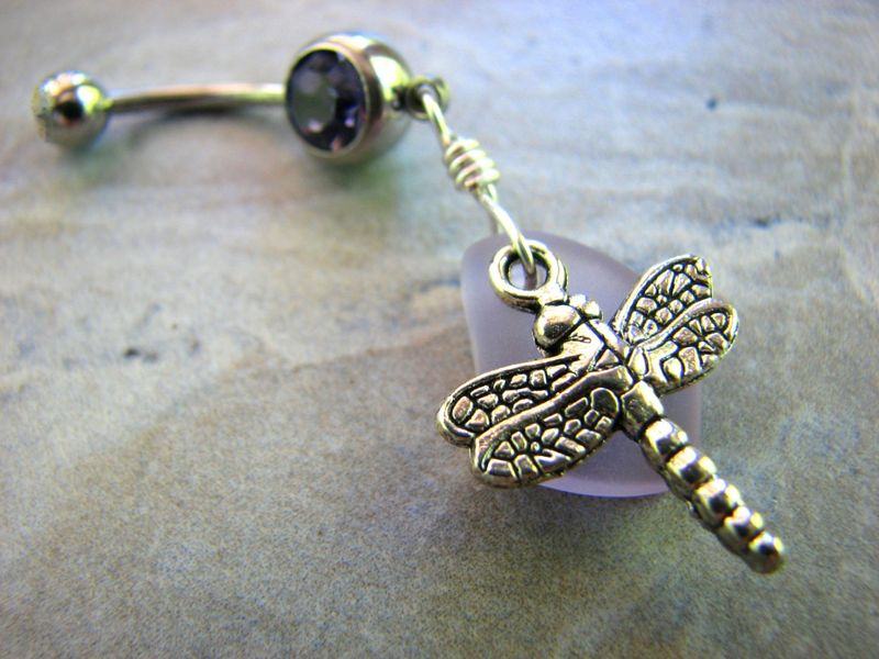 Purple Dragonfly Belly Button Piercing - product images  of