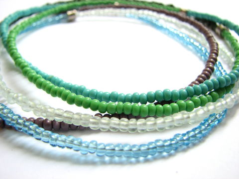 Shades,of,the,Caribbean,Long,Beaded,Necklace,long seed bead necklace, boho bead necklace, hippie jewelry, hippie necklaces, czech glass seed beads, blue and green bead necklace, wrap necklace, colorful bead necklace, caribbean color jewelry, 60 inch, vacation jewelry, pack-able jewelry