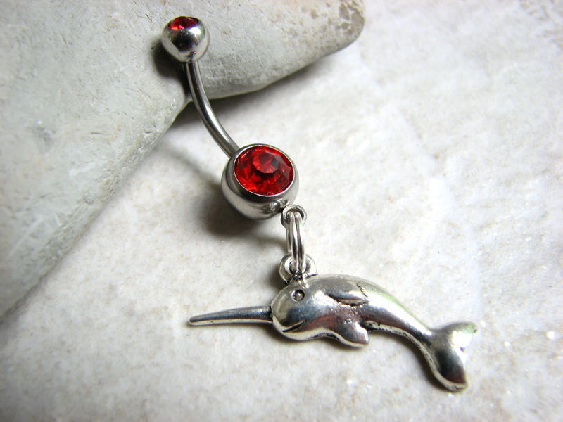 Narwhale Belly Button Ring, The Unicorn of the Sea - product images  of