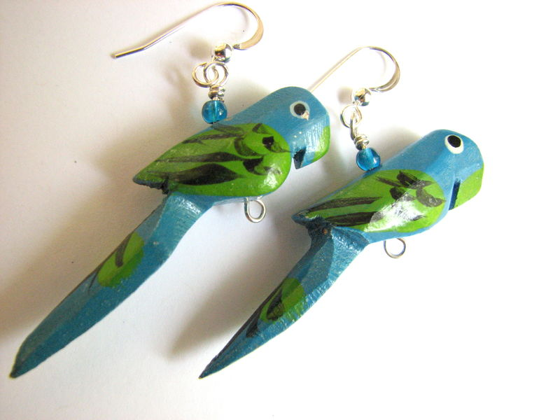 Wooden Parrot Earrings with Sterling Silver - product images  of