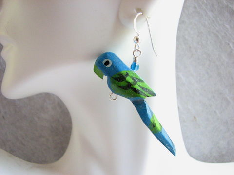 Wooden,Parrot,Earrings,with,Sterling,Silver,parrot earrings, tropical earrings, wood parrots, colorful earrings, blue parrot, parrot bead earrings, sterling silver, tropical bird jewelry, carved parrots