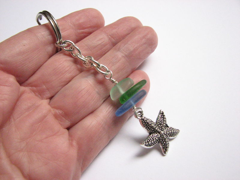 Starfish and Stacked Sea Glass Key Ring - product images  of