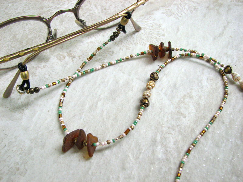 Eye Glass Necklace with Sea Glass and Shells - product images  of
