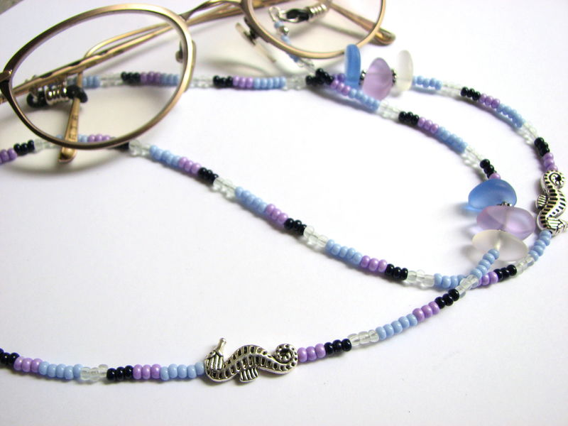 Eye Glass Chain with Sea Glass and Seahorse Charms - product images  of