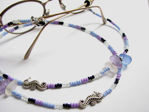 Eye,Glass,Chain,with,Sea,and,Seahorse,Charms,Sea glass eye glass chain, seahorse eye glass chain, beach charm eye glass chain, seahorse reader necklace, sea glass readers necklace, coastal eye glass holder, beaded Ocean glasses lanyard, purple and blue eye glass chain, eye glass chain for beach love