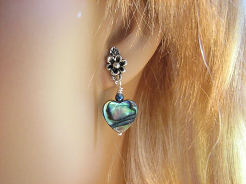 Paua,Shell,Abalone,Heart,Dangle,Post,Earring,paua shell heart, abalone shell heart, post earrings, dangle stud earrings, romantic beach jewelry, ocean themed present, beach shell jewelry, iridescent green blue, sea shell, seashell, flowered stud, stainless steel