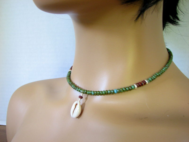 Beaded Cowrie Shell Choker Necklace - product images  of