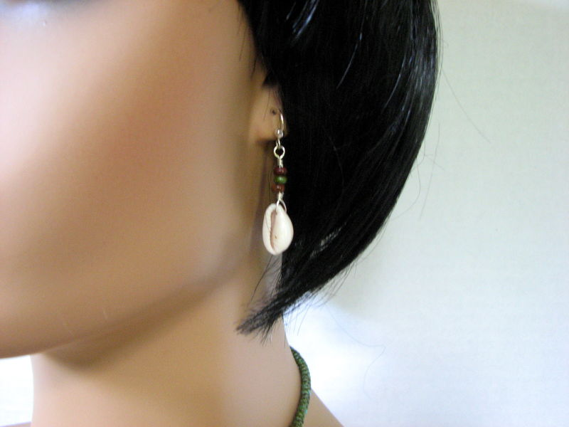 Cowrie Earrings, Beaded Sterling Silver Dangles - product images  of