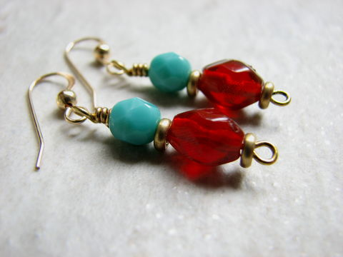 Turquoise,Blue,and,Red,Gold,Filled,Dangle,Earring,beaded dangle earrings, gold-filled, brass, glass beads, turquoise blue and red, blue and gold, red and gold, simple earring, southwestern colors,