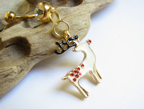 Christmas,Belly,Button,Rings,,Gold,Reindeer,Ring,Jewelry,Body jewelry, Gold titanium belly ring, Christmas, Xmas, Holiday, Festive, Santa's Reindeer, Rudolf with a red nose, Reindeer, Christmas Animal, Belly rings, Navel rings, Piercings, Body Jewelry. Reindeer Belly Button Jewelry