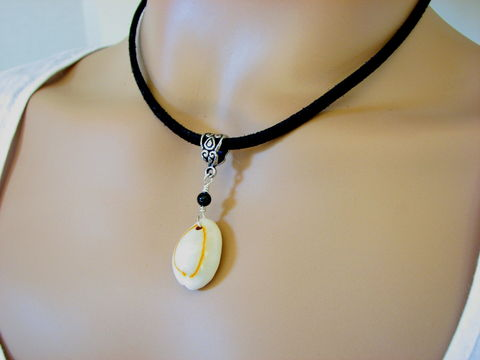 Cowrie,Shell,and,Onyx,Black,Suede,Necklace,cowrie shell necklace, shell pendant necklace, cowry shell necklace, 18 inch black suede, shell on leather necklace, cowrie and onyx, white oval shell jewelry, white shell necklace,